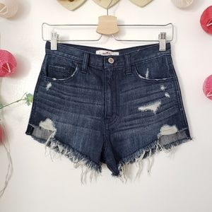 HOLLISTER high waisted distressed shorts 24